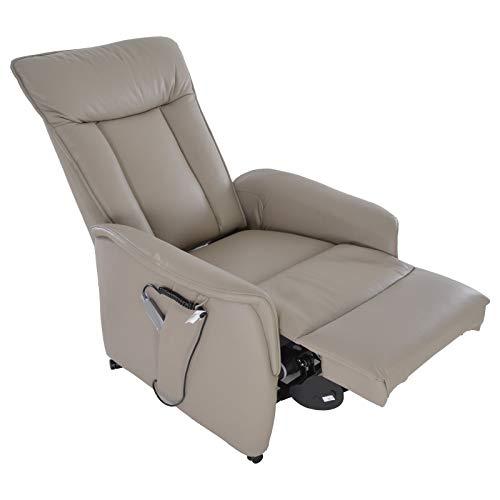 colourliving Fernsehsessel mit Aufstehhilfe elektrisch Relaxsessel mit 2 Motoren aus Leder im Sitzbereich in grau