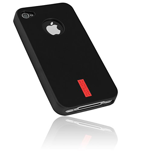 TPU Hülle schwarz mit Logo für Apple iPhone 4 / 4s