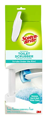 Scotch-Brite Disposable Toilet Scrubber Starter Kit, Disposable Refills with Built-In Bleach Alternative, Includes 1 Handle, Storage Caddy and 5 Refills