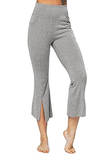 FITTOO Pantalones Bootcut Yoga Sueltos Cintura Alta Mujer Pantalones Largos Suaves Cómodos Gris XL