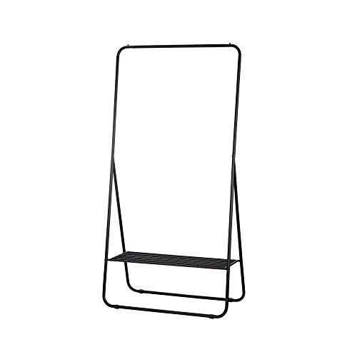 Type A Stationary Clothing Rack with Shoe Shelf   Garment Rack for Hanging Clothes   Metal   Black