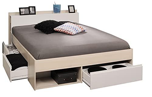 Funktionsbett Most Parisot 2 140 * 200 cm grau/weiß Akazie inkl 3 Roll-Bettkästen Jugendzimmer Kinderzimmer Kinderbett Jugendbett Liege