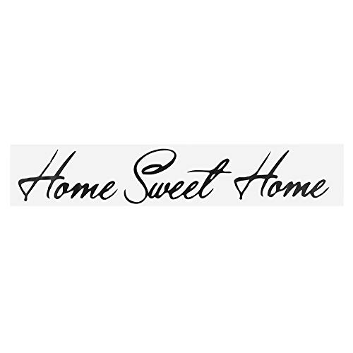 Adesivo da Parete, 3,9 x 23,6 Pollici PVC Nero Home Sweet Art Letter Home Wall Sticker Rimovibile Home Flower Vinyl Art Decal Home Room Decoration