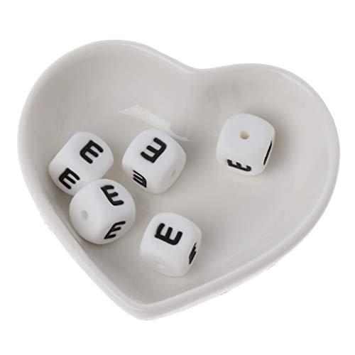 Karrychen Cuentas de dentición de Silicona seguras con Letras DIY de 5 Piezas para Cadena de Chupete mordedor de bebé 12 mm - Blanco