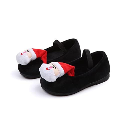 Zapatos de princesa de invierno para niños, estilo de Navidad y terciopelo de frijoles zapatos antideslizantes suela ligera para niñas