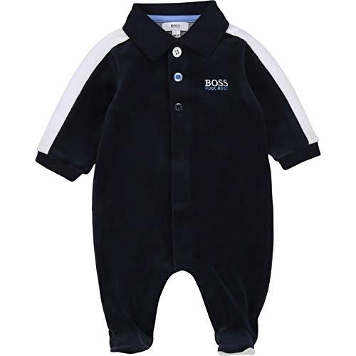 Hugo Boss Kopie Baby Strampler weiß Samt mit Logo Details Geschenkbox 3-9 Monate, Größe: 6 Monate (62-68)