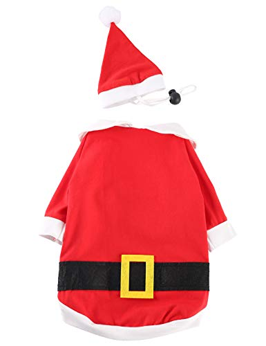 Impoosy Christmas Dog Shirt with Funny Hat Pet Cute Santa Claus Elf Costume Clothes Cat Small Dog Soft Cotton Xmas T-Shirt Outfit Set (XL)