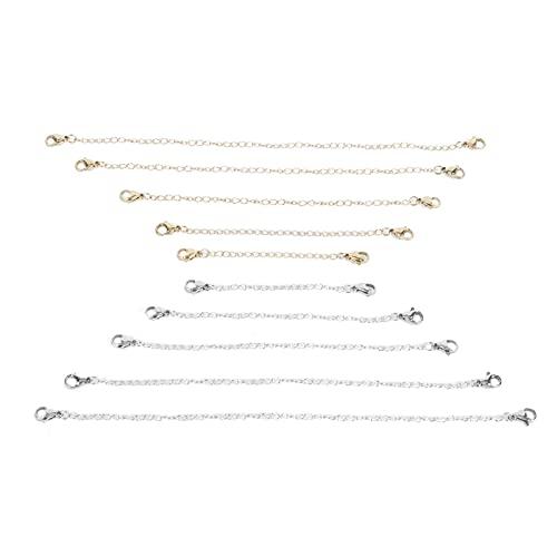Cadena de extensión de joyería, juego de extensor de collar de cadena de collar de doble cabeza de oro plateado con cierre de langosta 10 piezas