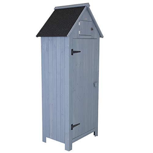Charles Bentley FSC Slim Tall Garden Storage Shed Grey H179 x L77 x W54cm Grey Wooden Patio Store Shed Sentry Box