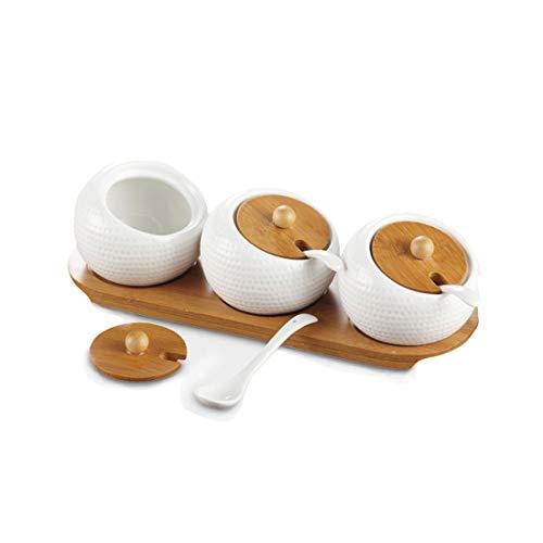 Tarro de especias de cerámica con cuchara y bandeja de bambú para salero, pimienta, especias, azucarero para cocina en el hogar A