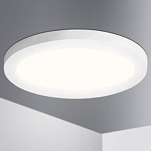 Lumare LED Deckenleuchte 18W Extra Flach rund 1400lm 225mm ersetzt 120W IP44 Deckenlampe für Wohnzimmer Badezimmer Küche Flur Keller Bad Wandleuchte Einbaustrahler Aufbaustrahler modern warmweiß