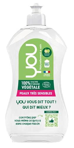 YOU - Liquide Vaisselle Ecologique à l'Amande Douce   Hypoallergénique et Dégraissant   Mains Très Sensibles   Produit Vaisselle Fabriqué en France   Flacon 100% recyclable   Lot de 2 x 500ml