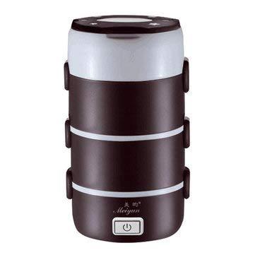 TuToy 2.2L 4 Capas De Acero Inoxidable Caja De Almuerzo Eléctrica Mini Olla Arrocera Calentador De Alimentos - Café