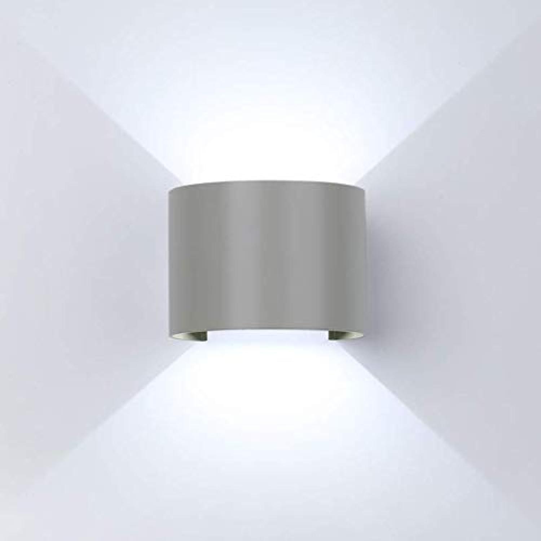 LED Wandleuchte, Modern Auen Innen Wandlampe IP65 Wasserdicht Aluminium Wandbeleuchtung Kaltwei 6000K mit Einstellbar Abstrahlwinkel für Wohnzimmer Schlafzimmer Garten Flur Weg, Grau,Round2Pcs,12W