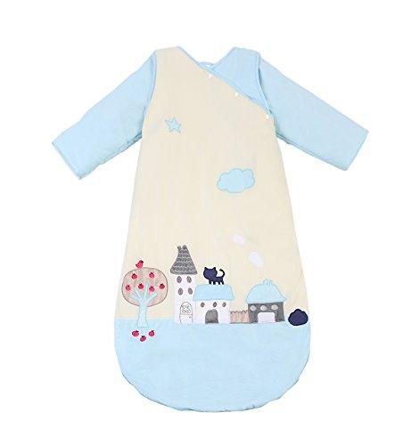 Chilsuessy Baby Schlafsack Kinderschlafsack mit abnehmbaren Aermeln fuer Jungen und Maedchen,Ganzesjahr 2.5 Tog fuer 18-25 Grad, Blaue Katze, M(Laenge:90cm)