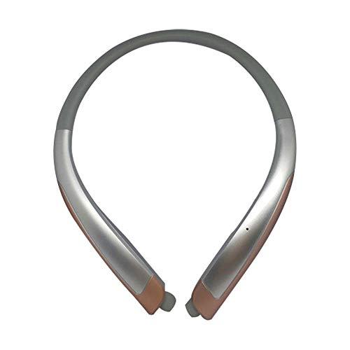NNuodekeU Bluetooth Headphones, Draadloze Neckband Sport Headset met Intrekbare Oordoppen, Sweatproof Ruisonderdrukking Stereo Oortelefoon met Microfoon ZILVER