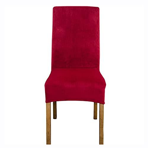PLHSD Fundas de terciopelo para sillas de comedor, fundas elásticas extraíbles y lavables, para hoteles, restaurantes, bodas, comedores, banquetes (color: burdeos, tamaño: 6 unidades)