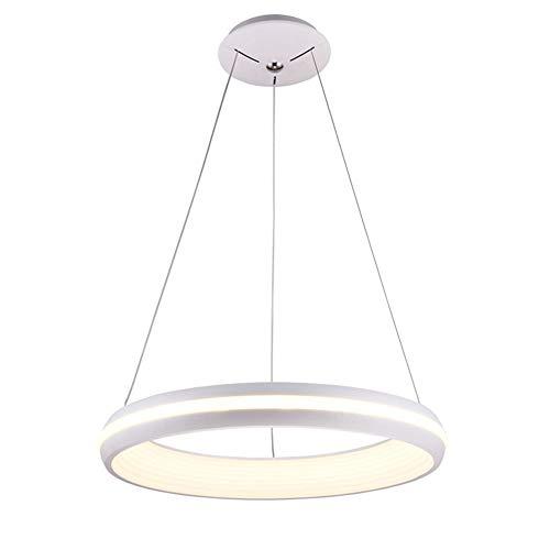 Lámpara Colgante Mesa de comedor Moderno LED Colgante de luz Anillo Diseño Dormitorio Candelabro Regulable con control remoto para Comedor Isla de cocina Sala de estar Loft Oficina ,Blanco,Ø48CM
