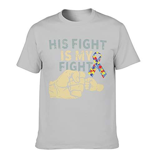 Vintage Sein Kampf ist Mein Kampf Vater Geschenk Druck Herren T-Shirt Lässig Kurzarm Baumwolle Erwachsene Arbeitskleidung Silver Gray s