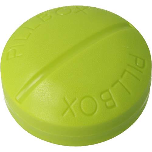 MovilCom® - Pastillero pequeño diario bolsillo | 3 compartimentos | Organizador de pastillas pill box estuche redondo | Color verde