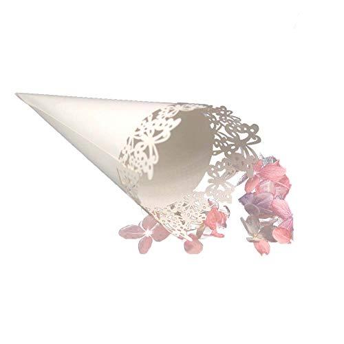 100 piezas Conos Papel Arroz Boda Blanco - Hueco de mariposa - Cucuruchos Confeti Decoración Boda - Equipado Cinta Adhesiva Doble