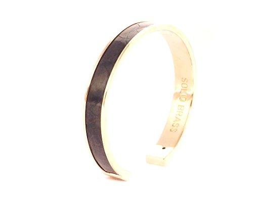 STAMERRA Cuff Armreifen/Armband vergoldet vergoldet, Krokodilleder (100% Made in Italy), schwarz - Cyber-Monday-Woche Angebot befristet