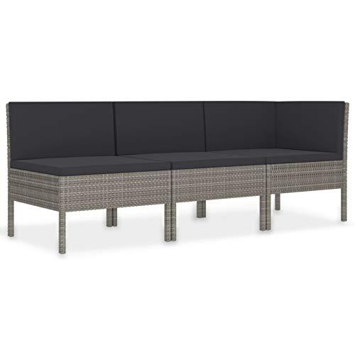Festnight 3-TLG. Garten-Lounge-Set mit Auflagen Gartensofagarnitur Gartenmöbel Garten Polyrattan Couch Lounge-Set Poly Rattan Braun/Grau