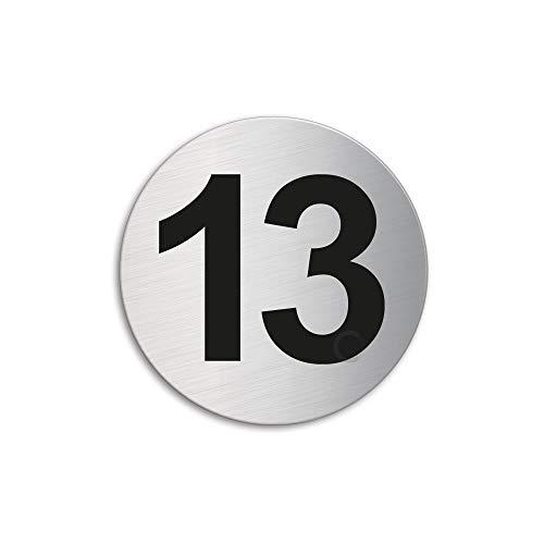 Plaque Numéro de porte 13   Ø 60 mm autocollant   acier inox brossé 7294-13