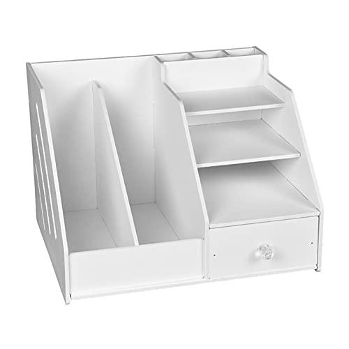 PJRYC Scatola per organizzatore di cancelleria Desktop Multiuso con Supporto per Libri File documento e Porta cassettiera (Color : White)