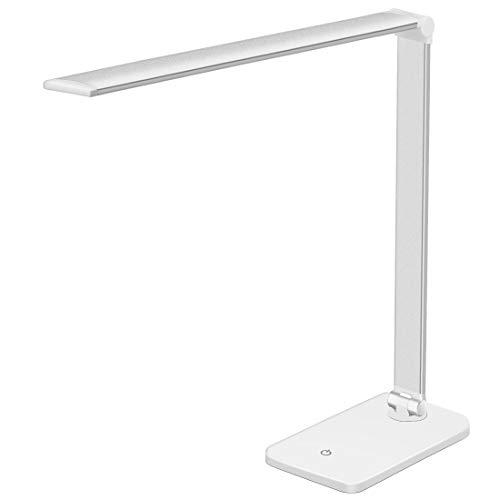 LED Schreibtischlampe, Tischlampe LED 3 Gänge Dimmbar, Tischleuchte mit Touchbedienung, Augenschutz LED Schreibtischlampe Faltlampe Leselicht mit USB-Ladeanschluss