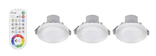 3 iDual-LED-Deckeneinbauleuchten Argon; Warmweiß bis Kaltweiß; Dimmfunktionen; Multicolor-Umgebungs- und Stimmungslicht. - Inkl. Fernbedienung