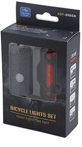 Conjunto de luz de bicicleta, luces de bicicleta recargables USB, luces de bicicleta LED Conjunto de luz de bicicleta impermeable, LED Kit de luz de bicicleta Luz de bicicleta 350 Lumens 3535 Lámpara