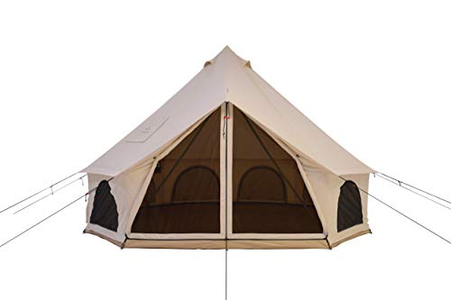 White Duck Outdoors Premium Luxury Avalon Canvas Bell Tent with Stove Jack, Bug mesh for All Season Camping and Glamping (6M (20'), Water Repellent)