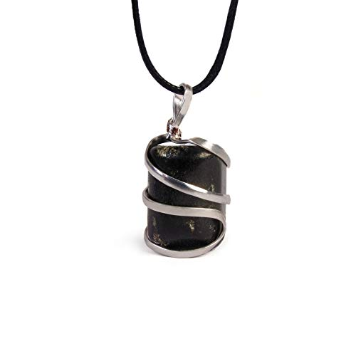 Raw Black Tourmaline Crystal Healing Pendant Necklace –Protection Negative Energy Cleanser Natural Stress Aid Soothe Mind Emotions - Authentic Wrapped Tumble Stone Chakra Healing Charm