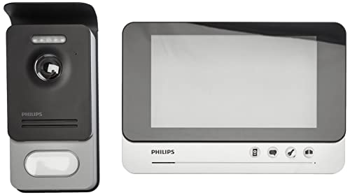PHILIPS 531019 WelcomeEye Comfort Video-Türsprechanlage, mit Kamera, 7 Zoll Monitor, 2-Familienhaus, 2-Draht-Anschluss, erweiterbar, Nachtsicht, einfache Installation, großer Betrachtungswinkel 100°