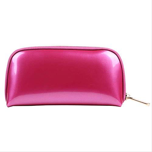 Voyage sac de rangement sac de lavage sac cosmétique femme main prendre pvc shell sac cosmétique 22 * 5 * 11 CM prune rouge
