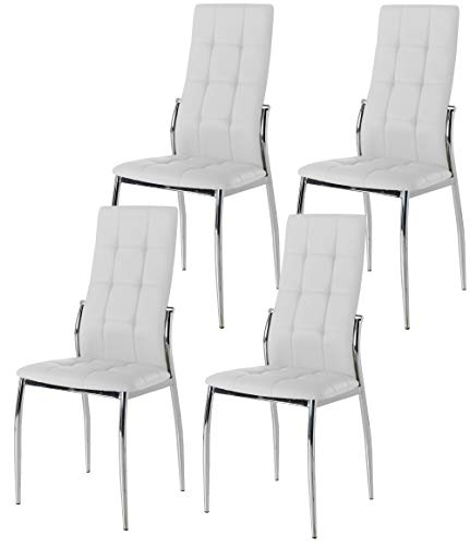Miroytengo Pack 4 sillas Comedor Salon Blancas Laci Polipiel Estilo Moderno cromadas 101x51x45