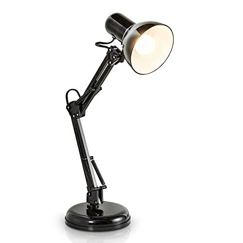 B.K.Licht - Lámpara de escritorio tipo arquitecto, flexo LED halógena, con brazo articulado giratorio, diseño vintage retro, color negro, sin iluminador