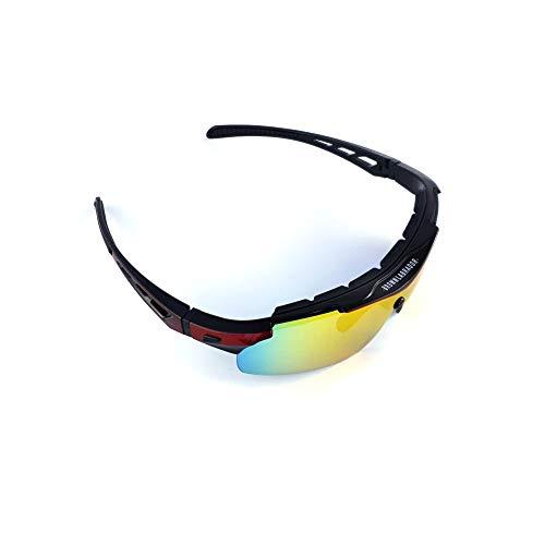 Brown Labrador Gafas Ciclismo polarizadas + REVO, 5 Lentes Intercambiables UV 400. Gafas Deportivas, Running Trail Running, BTT, Triatlon, Hombre y Mujer (Rojo)