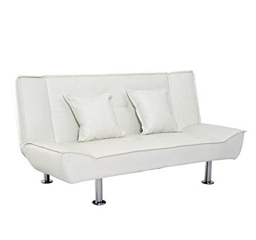 HomCom Elegante Divano Letto in Ecopelle con 2 Cuscini, Bianco, 178 x 86 x 80 cm