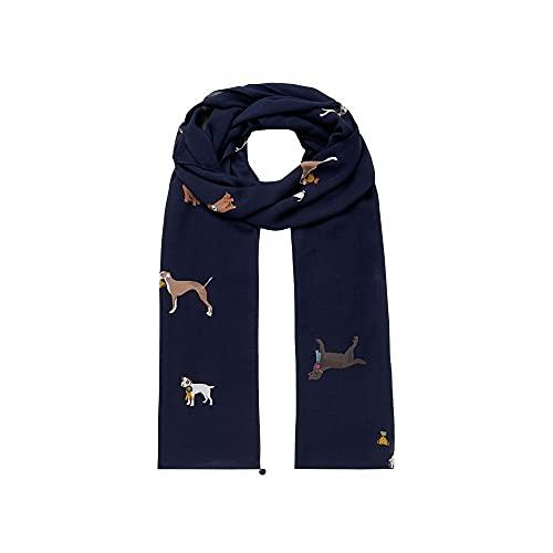 Joules Damen Conway Lightweight Printed Scarf Leichter bedruckter Schal, Marineblaue Hunde, One Size
