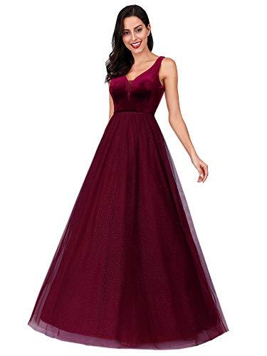 Ever-Pretty Vestito da Sera Donna Lungo Brillante Scollo a V Bustier di Velluto Elegante Borgogna 38