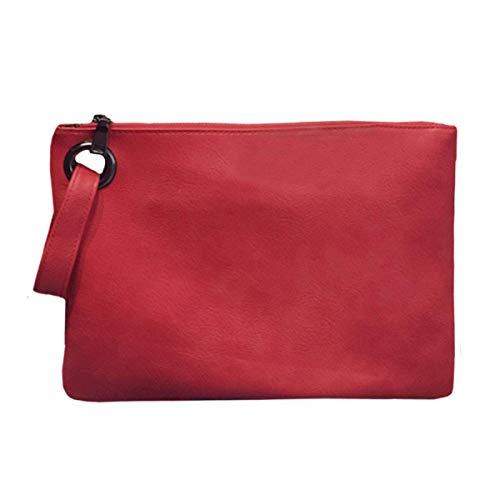 BAIGIO Carteras de Mano Fiesta de PU Cuero para Mujer Elegante Suave Bolsos de Mano de Teléfono con Asa Cremallera, Grande Clutch Moda Monederos de Boda Noche (Rojo)