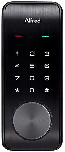 Alfred DB2-B Smart Door Lock Deadbolt Touchscreen Keypad, Pin Code + Key Entry + Bluetooth, Up to 20 Pin Codes (Black)