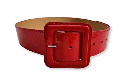 Ro Rox Sophia Cinturón Cuero de PVC Brillante 1950 Vintage Retro Pin-Up - Rojo (S)