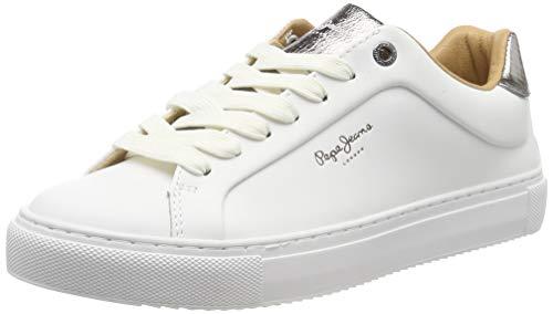 Pepe Jeans London Damen Adams Premium 19 Sneaker, Weiß (White 800), 40 EU