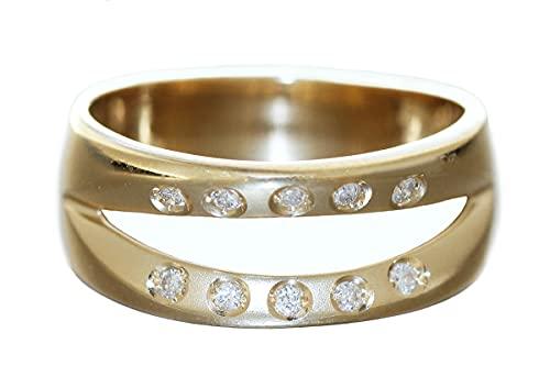 Hobra-Gold Ring Gold 585 Brillantring massiver Damenring 14 kt moderner Diamantring (17.5)