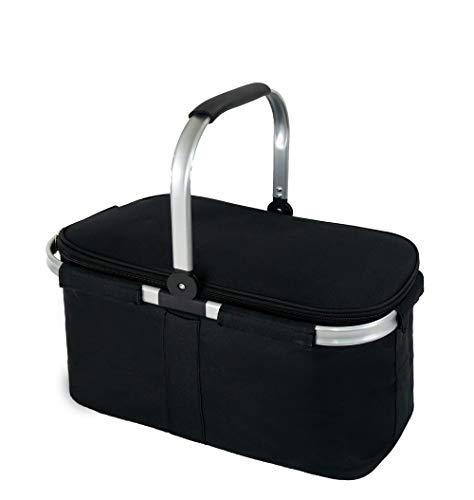 Cesta de picnic grande aislada, 29 L, a prueba de fugas, plegable, portátil, con mango de aluminio para viajes, compras, camping, fijación con una bolsa de comestibles plegable, color negro