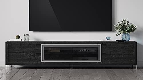 Zuri Furniture Modern ROMO Dark Oak TV Unit with Doors Shelves Storage