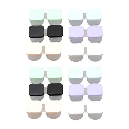 Healifty Caixa de lentes de contato coloridas quadrada para lentes de contato, caixa de lentes de contato para viagem e casa 24 peças